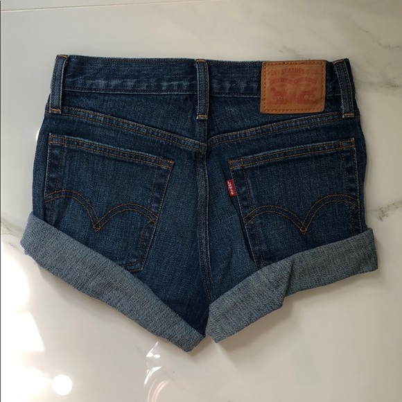 Levi's Dark Denim Shorts Size: 25